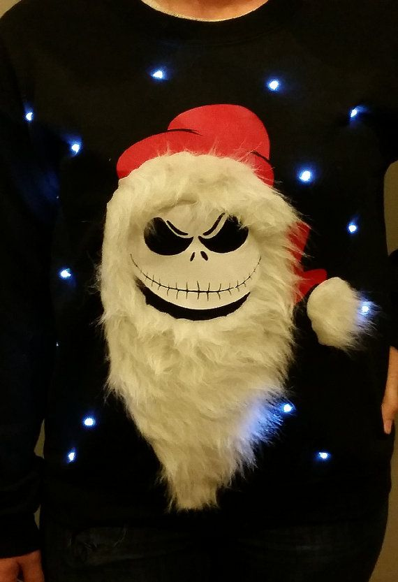 Light Up Ugly Christmas Sweater Jack Skellington Nightmare
