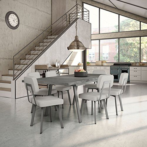 Amisco Clarkson Metal Chairs And Kane Table, Dining Set Grey Metal, Grey  Polyester And Gray Wood Set Of 8 Chairs And 1 Table