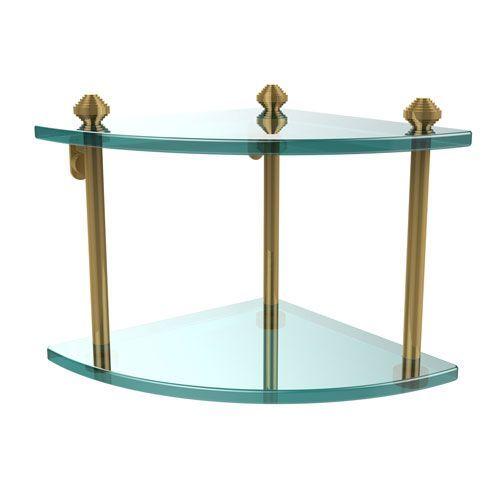 Southbeach Polished Brass Double Corner Glass Shelf - (In Polished