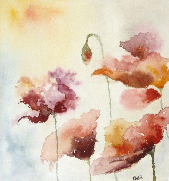 Exceptionnel TABLEAU PEINTURE fleur floue coquelicot fleur semi-abstrait semi  UE76