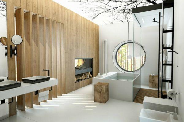 Badezimmer Fenster ~ Badewanne design rundes fenster holzhocker badezimmer ideen