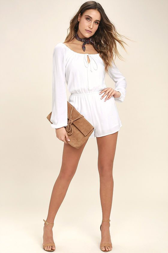 White Long Sleeve Rompers