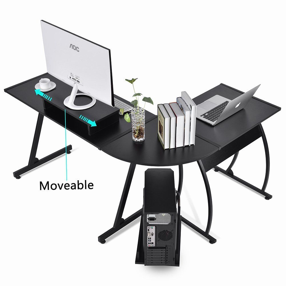 Triangle Corner Computers Desks Glass// Metal// Wooden L-Shape Office PC Tables UK