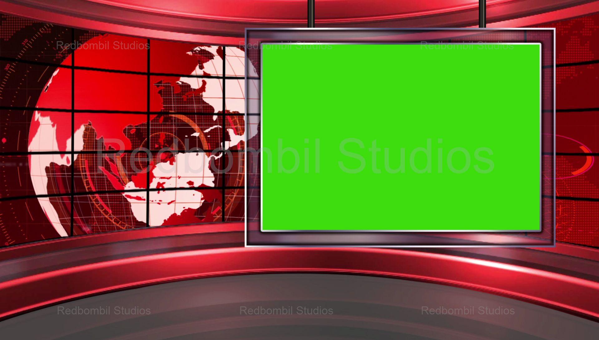 News20 Broadcast TV Studio Green Screen Background