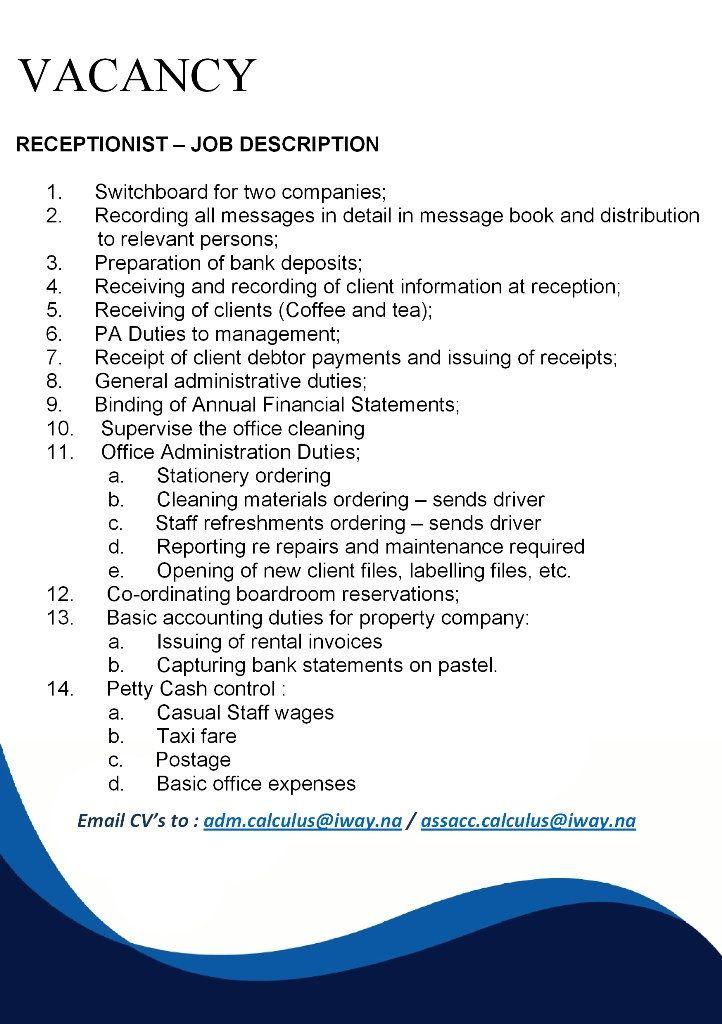 Vacancy Receptionist In Windhoek Receptionist Jobs Receptionist Job