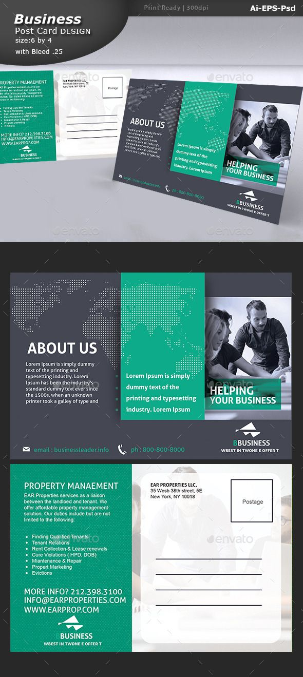Multi purpose business postcard template property management corporate postcard design vector eps ai illustrator cs6 6x4 business postcard corporate postcard servise postcard cheaphphosting Images