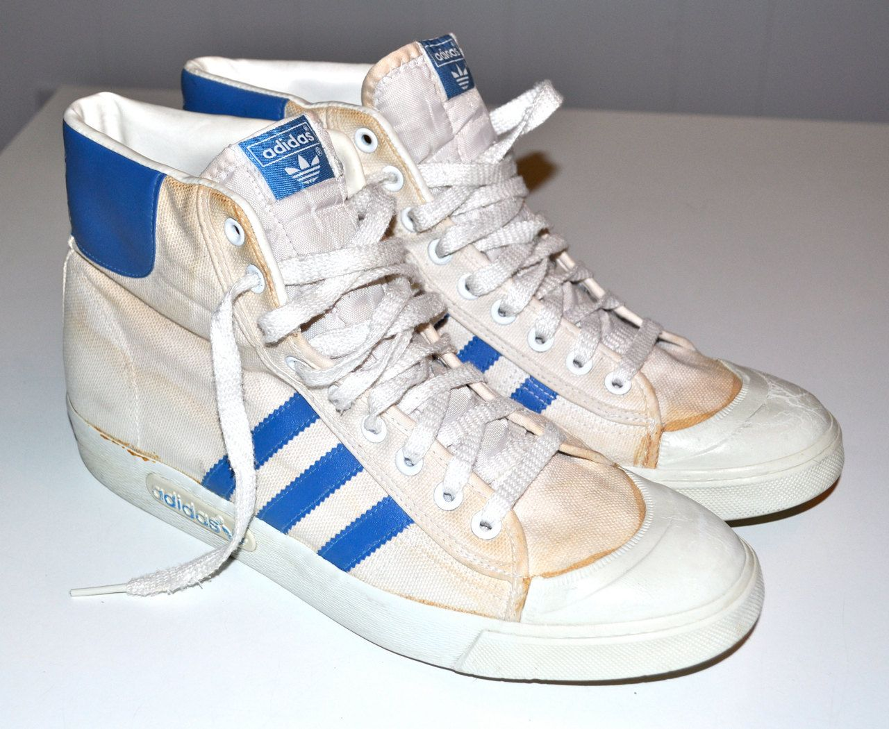 ADIDAS 1980s Vintage High Top Sneakers Basketball Shoes Canvas Mens 12  Super Rare Made in Taiwan