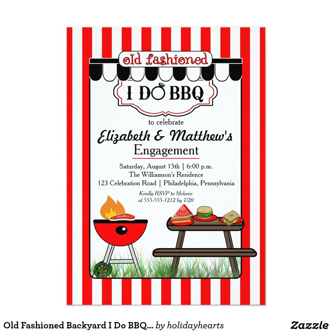 Old Fashioned Backyard I Do BBQ Engagement Party Card