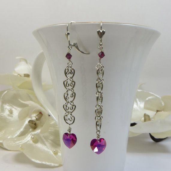 Swarovski Crystal Pink Love Links Earrings by SLCDesignsUK