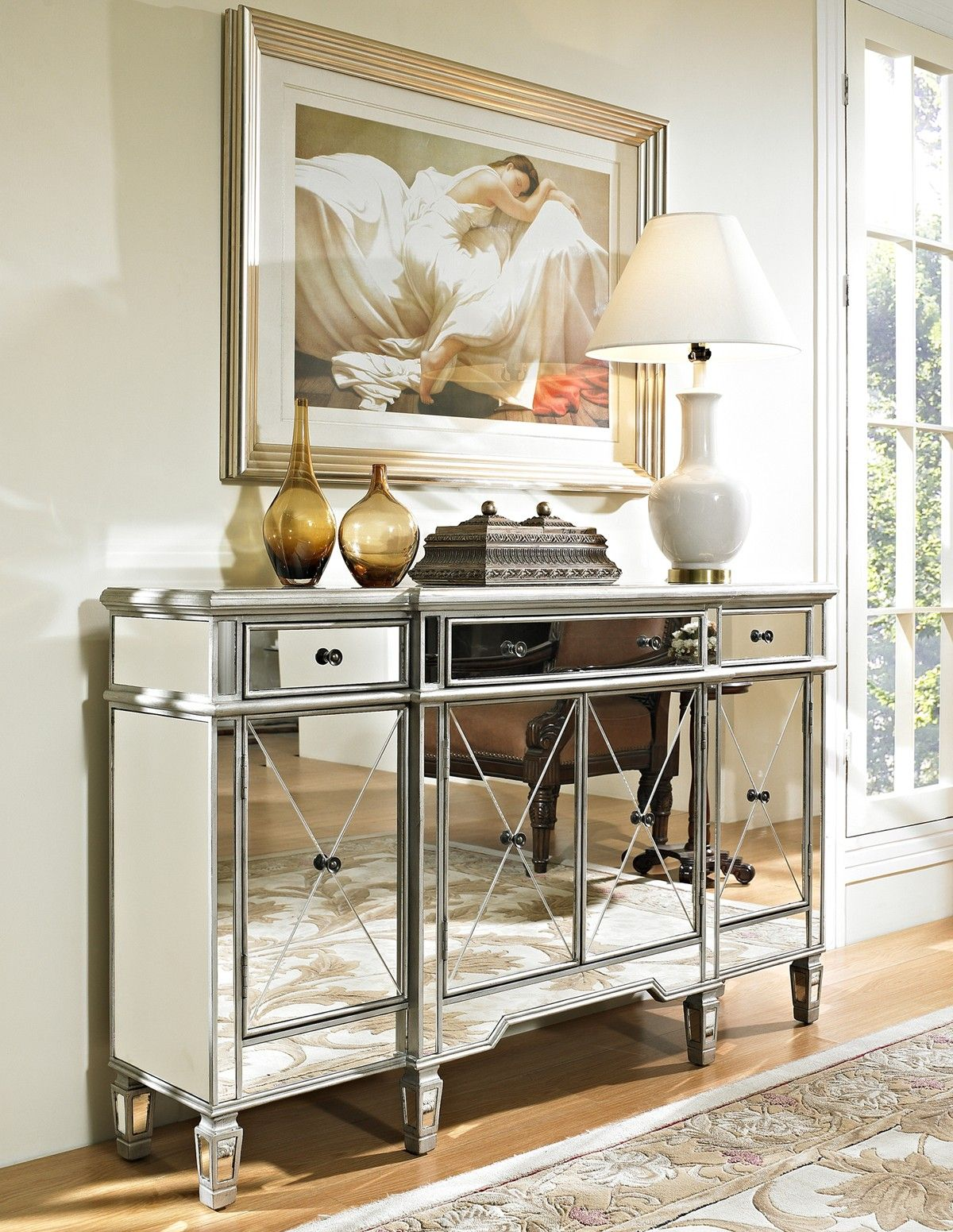 Powell Mirrored 3-Drawer 4 Door Console 233-695