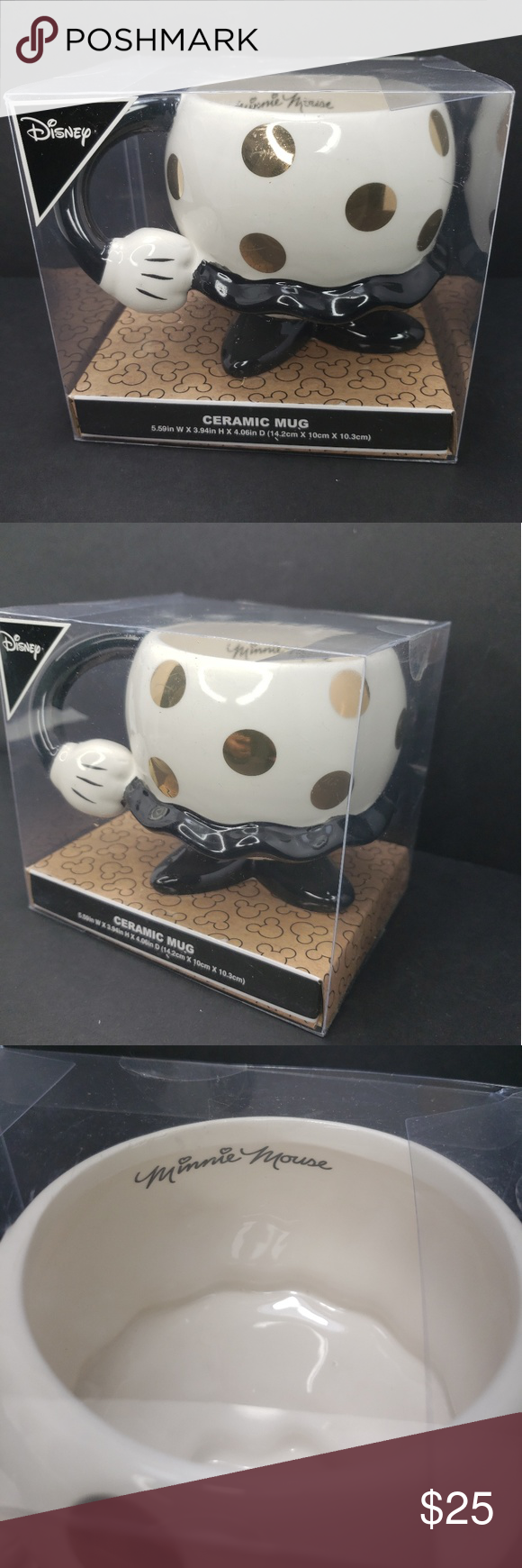 Minnie mouse Disney coffee mug from PRIMARK New in box seal coffee mug from Disney  Minnie mouse character  Material ceramic  Main color white with gold dots around the cup  It's from PRIMARK Primark Other #disneycoffeemugs