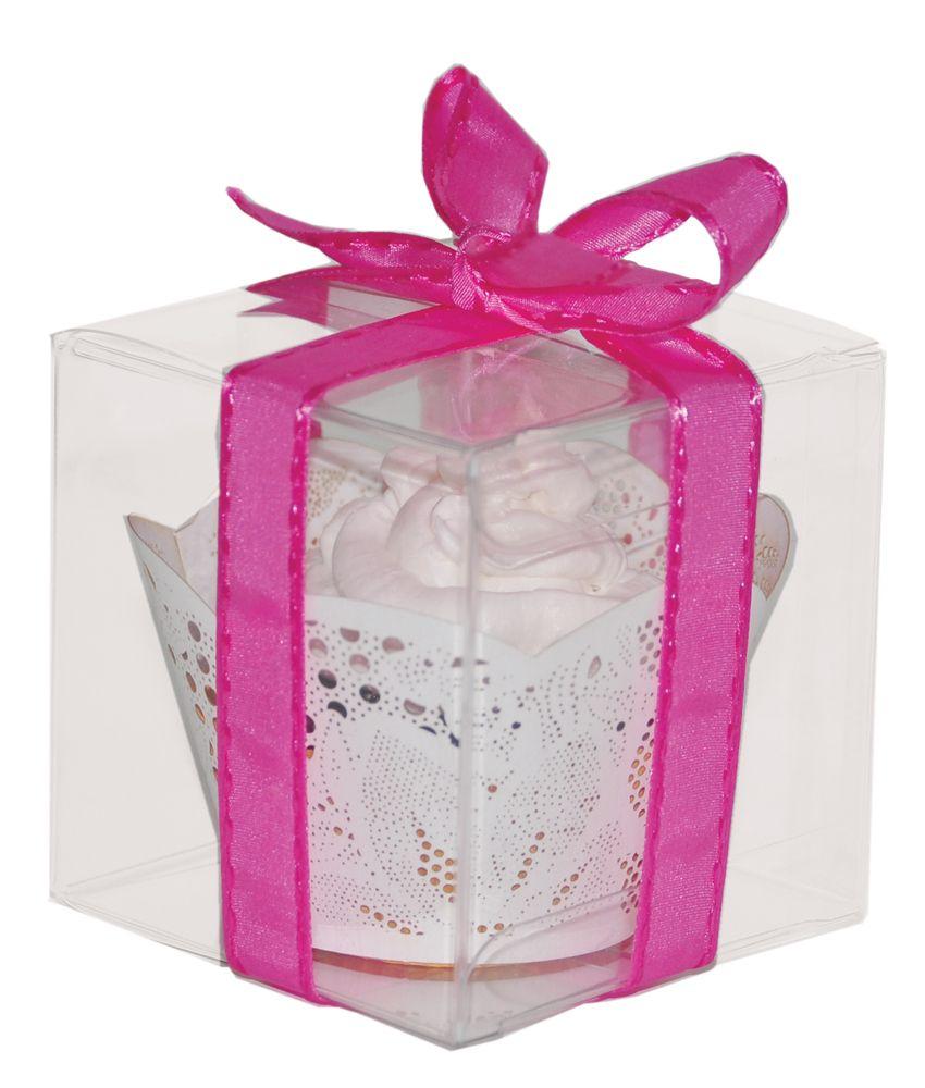 Cupcakes para recordatorio en caja transparente de acetato decorada ...