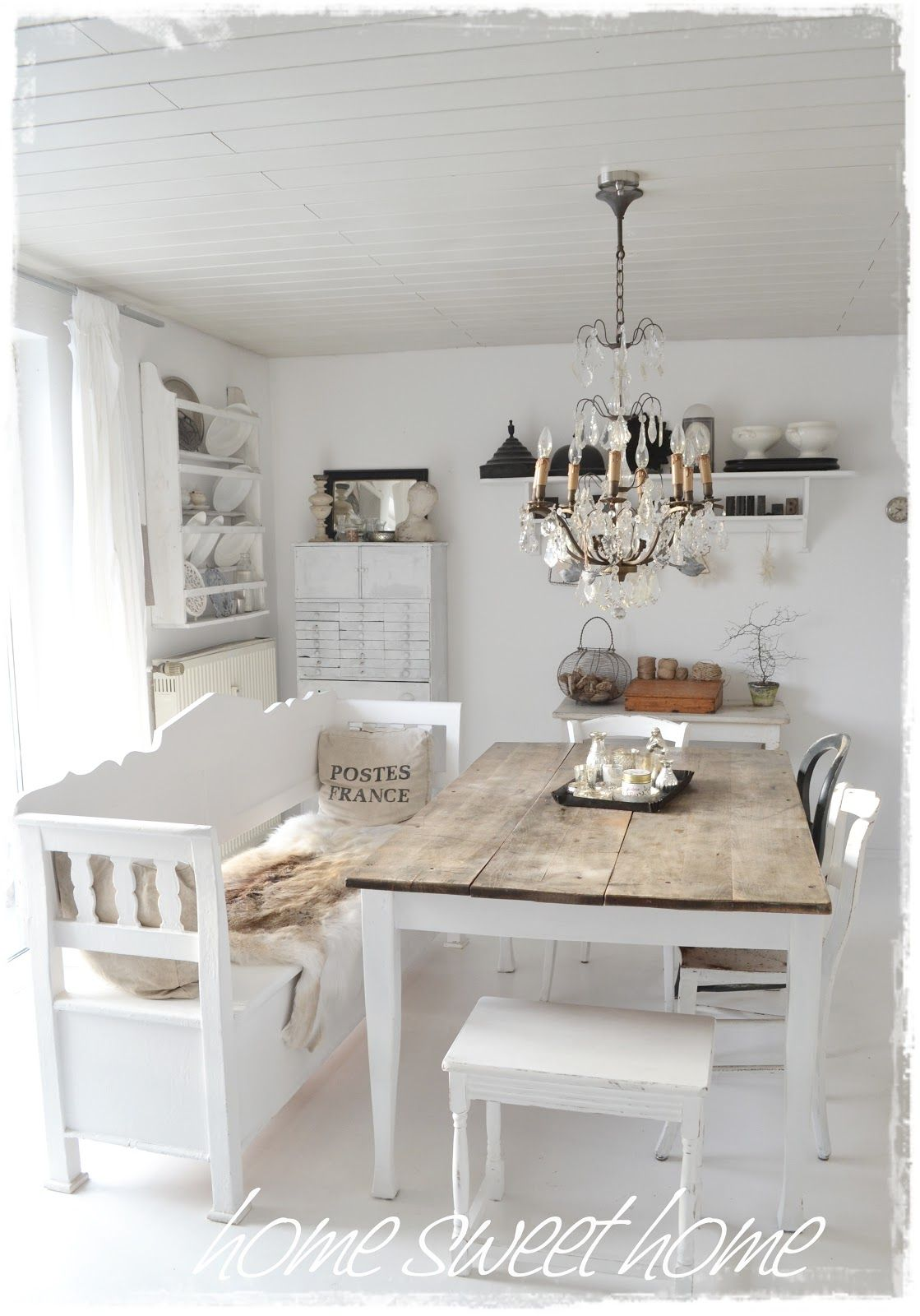 Dining Room Whitewashed Cottage Chippy Shabby Chic French Country Rustic Swedish Idea Love The Bench And Table Just Needs Some Color
