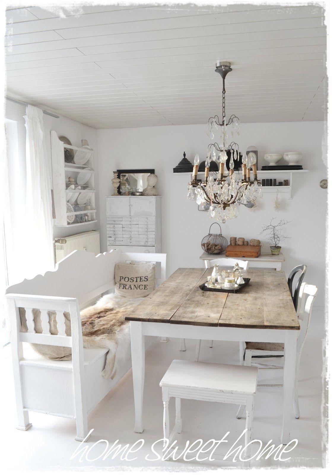 Esszimmer stil ideen dining room white grey black chippy shabby chic whitewashed