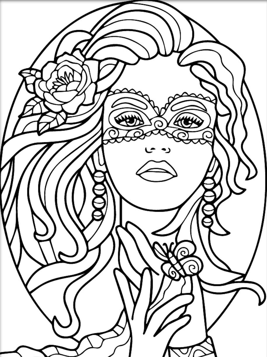 adult coloring pages for women | Masquerade colouring page | Witch coloring pages, Blank ...