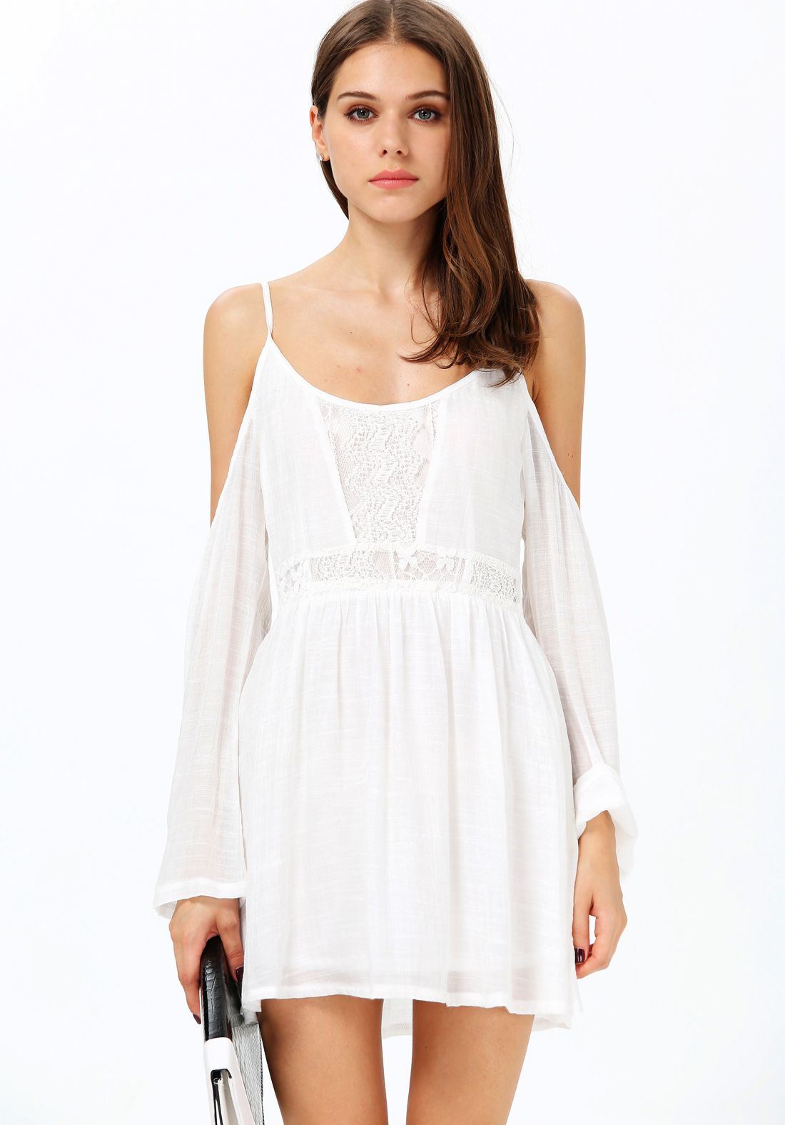 White Spaghetti Strap Off the Shoulder Embroidered Dres | Women's ...