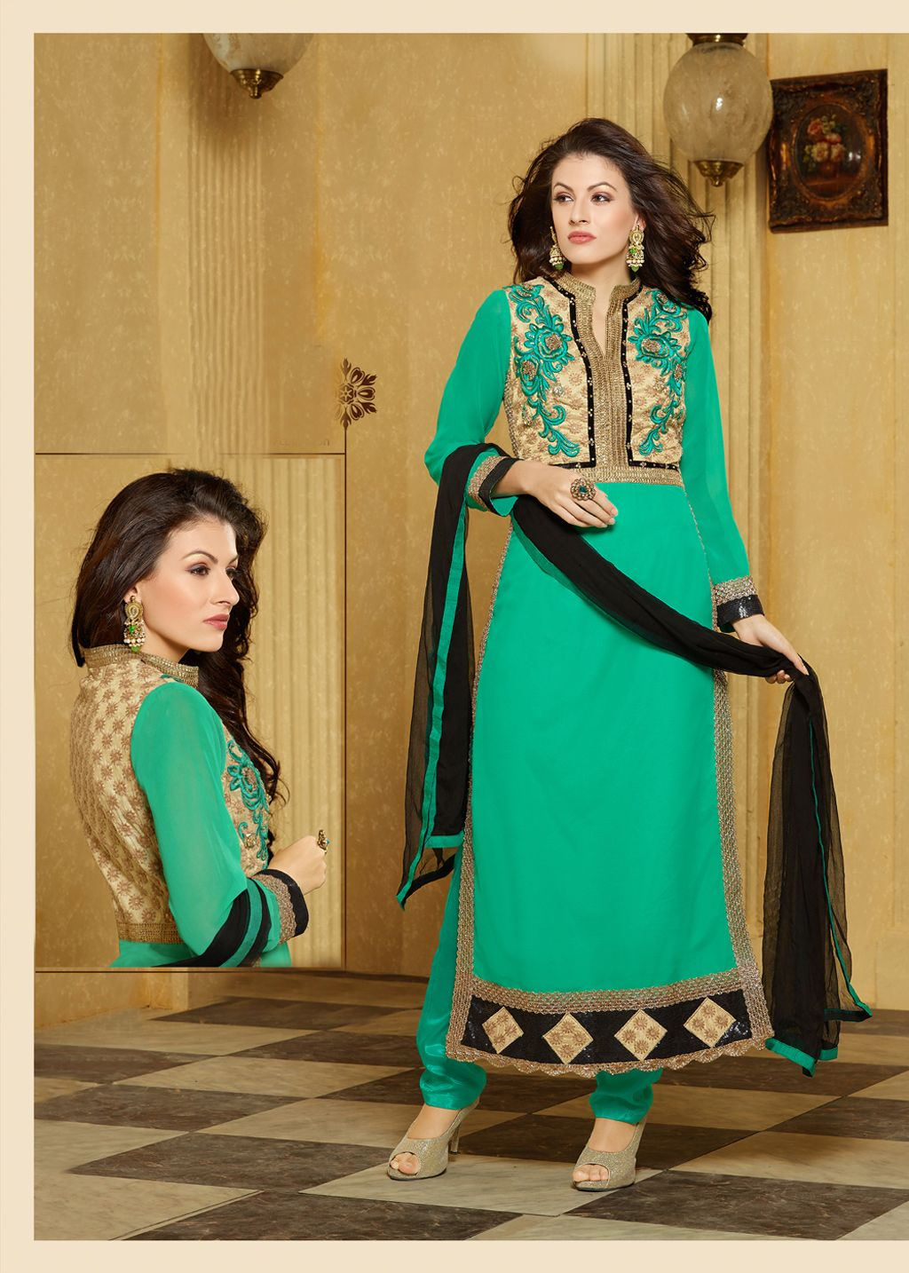 Sea green faux georgette pakistani style suit clothes