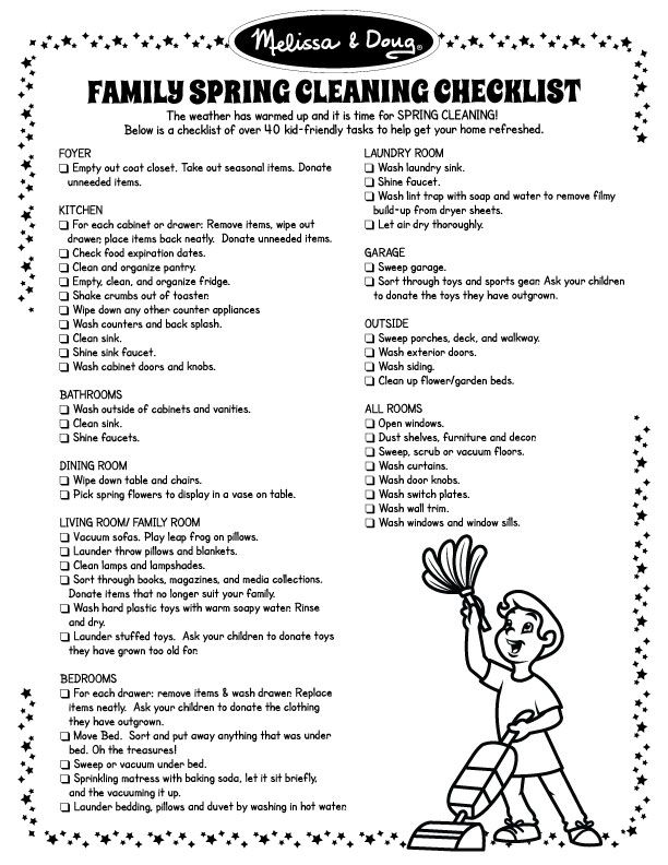 Free Printable Checklist of Kid-Friendly SPRING CLEANING Tasks - spring cleaning checklist