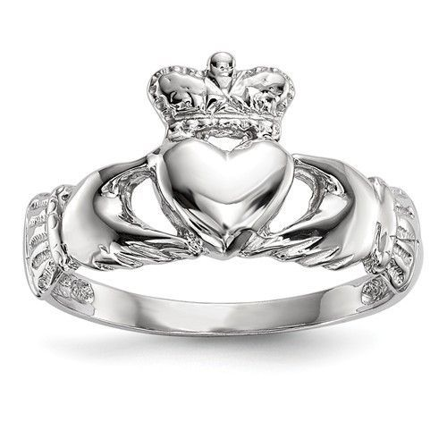 14k White Gold Solid Polished Finish Claddagh Ring White gold