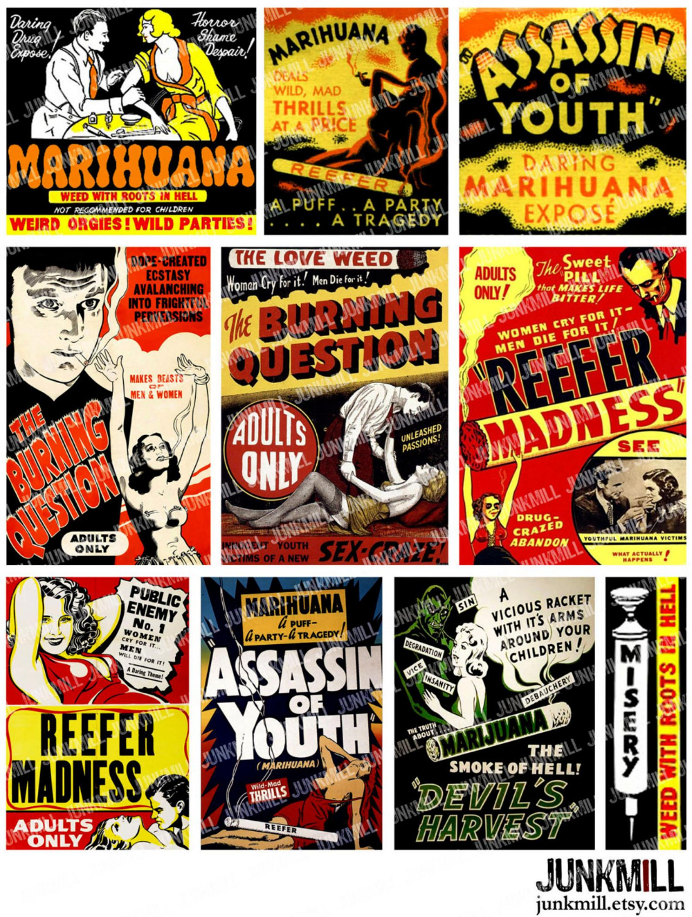 """1950s /""""Reefer Madness/"""" Vintage Marihuana Vintage Style Movie Poster 24x36"""