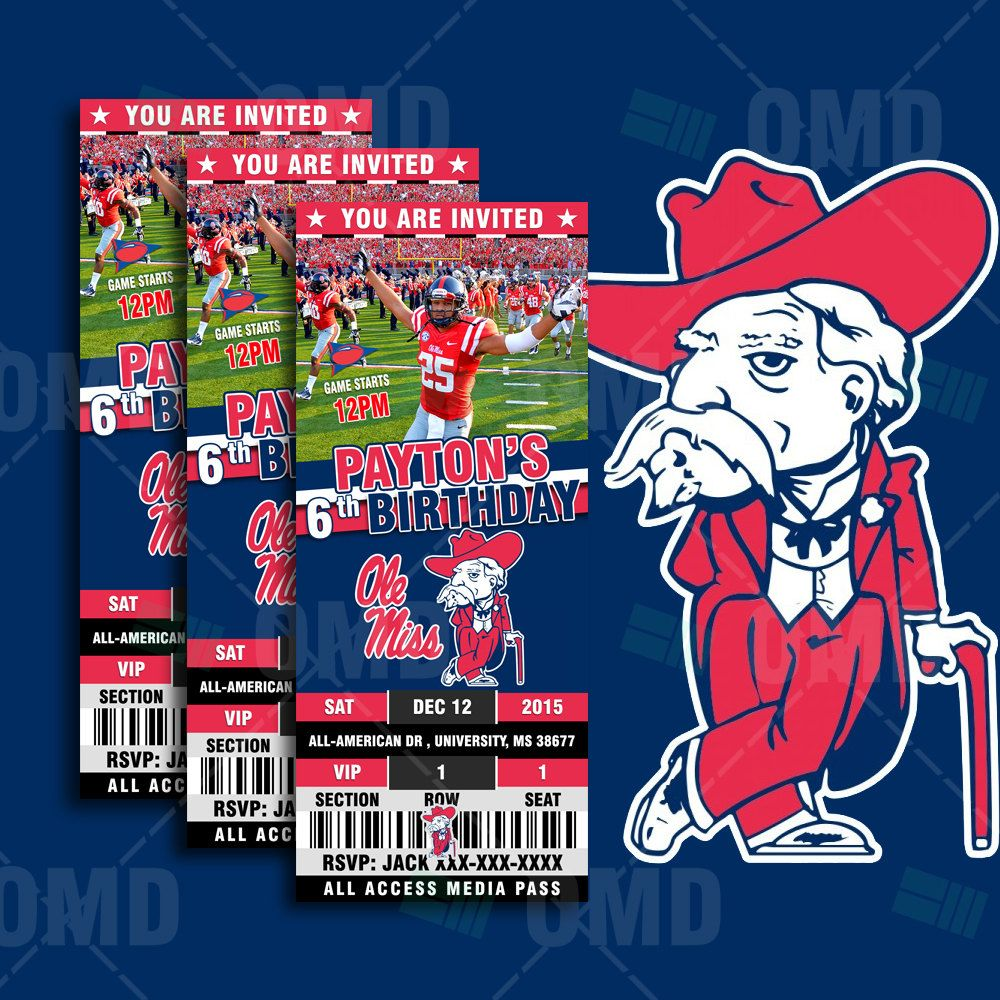Ole miss gameday colors 2015 - 2 5x6 Ole Miss Rebels Sports Party Invitation Ncaa Sports Tickets Invites Rebels