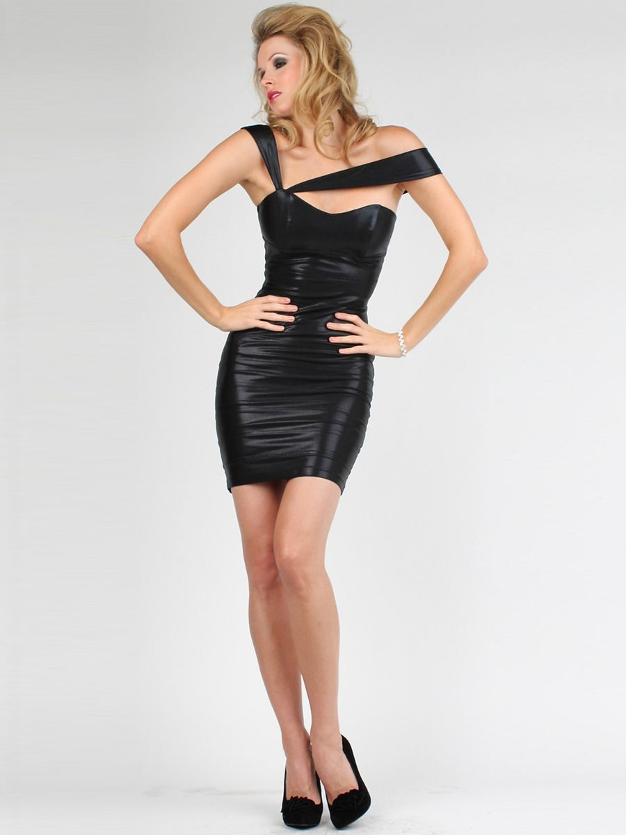 Neck short sheath black stretch satin cocktail party dresses