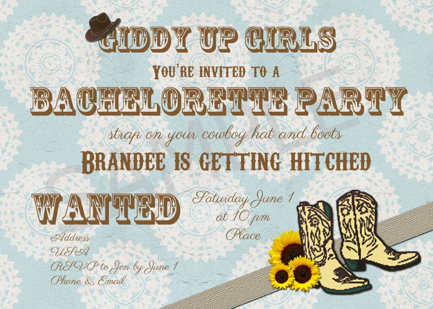 Country or Cowgirl Bridal Shower/Bachelorette Party Invitation ...