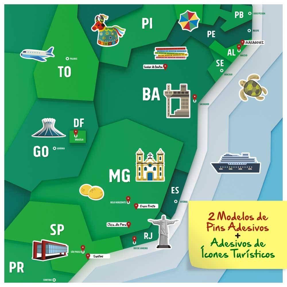 9aae38a6590 Poster mapa do Brasil com adesivos de pins e ícones turísticos para marcar  suas viagens. Pôster Mapa do Brasil A1 + Adesivos (Pins + Ícones  Turísticos) ...