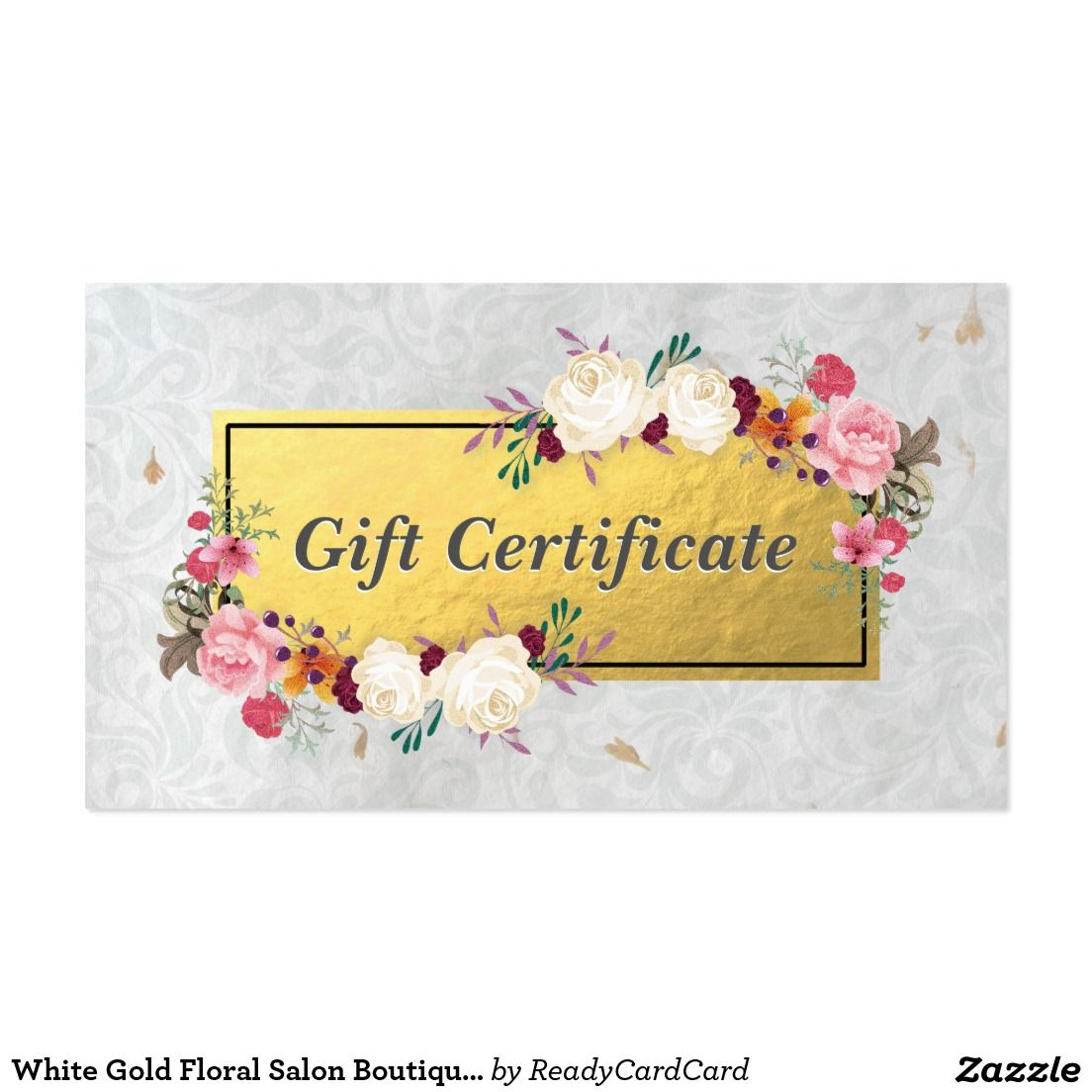 White Gold Floral Salon Boutique Gift Certificate Business Card