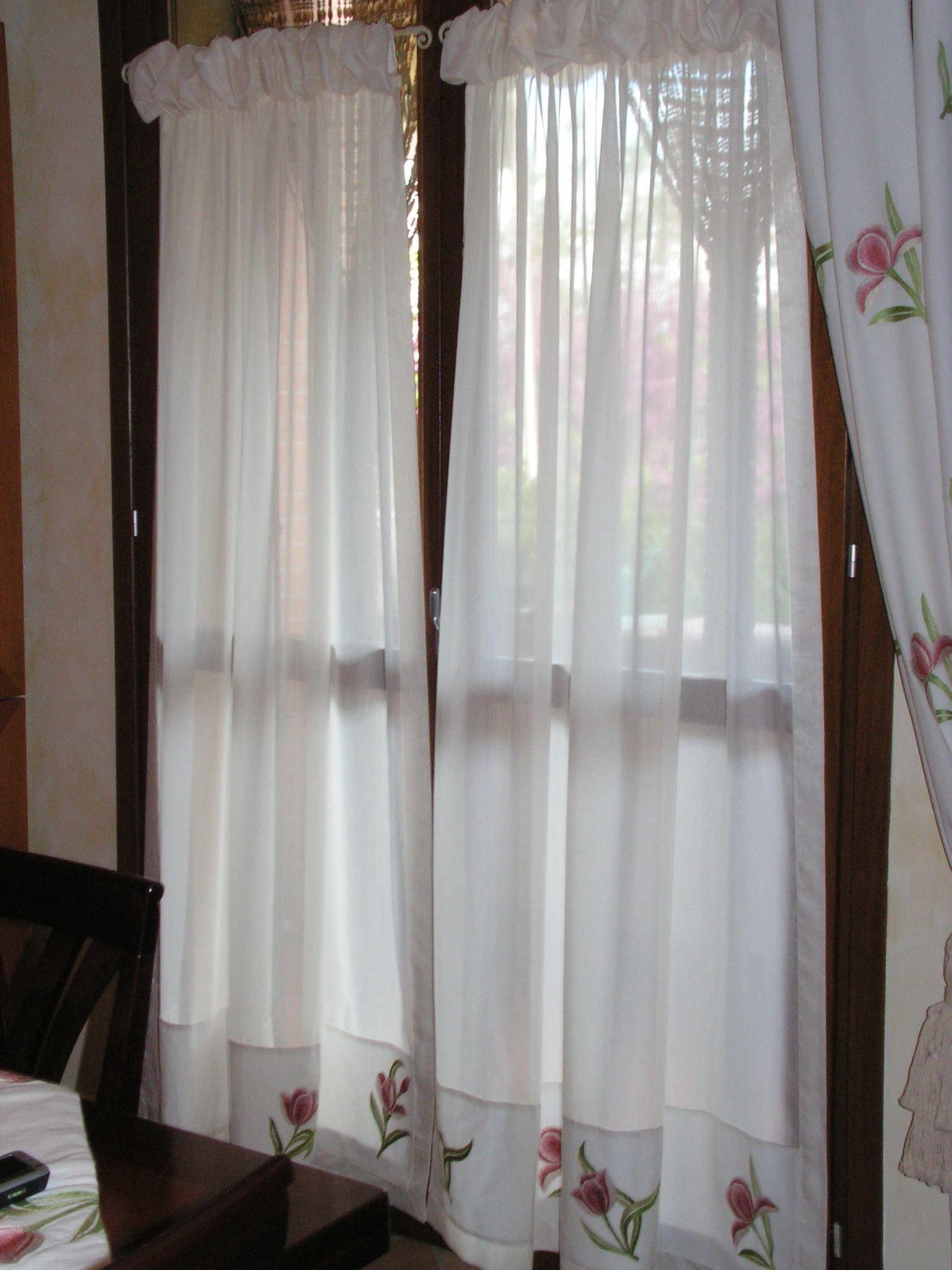 Tende a vetro arricciate con doppia increspatura for Tende in organza