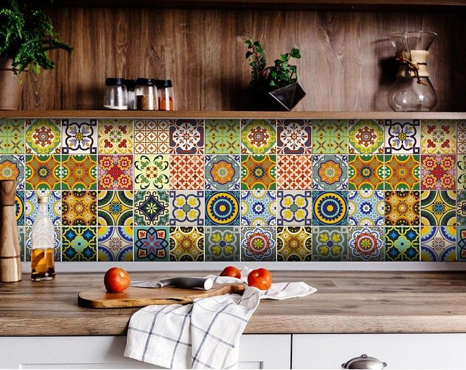 Set of 24 Tiles Decals Tiles Stickers mixed Tiles for ...