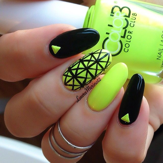 Black and Neon ❤ | Pretty Nails | Pinterest | Neón, Diseños de uñas ...