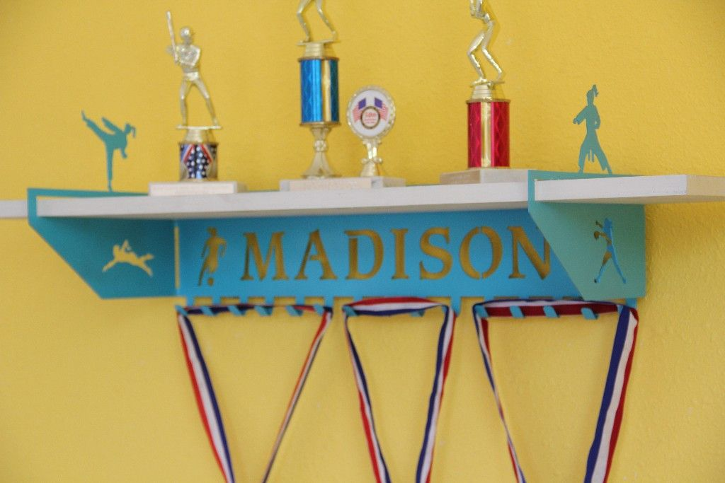 Multi Sport Trophy Shelf And Personalized Medals Display