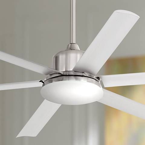60 Quot Casa Arcade Brushed Nickel Damp Led Ceiling Fan