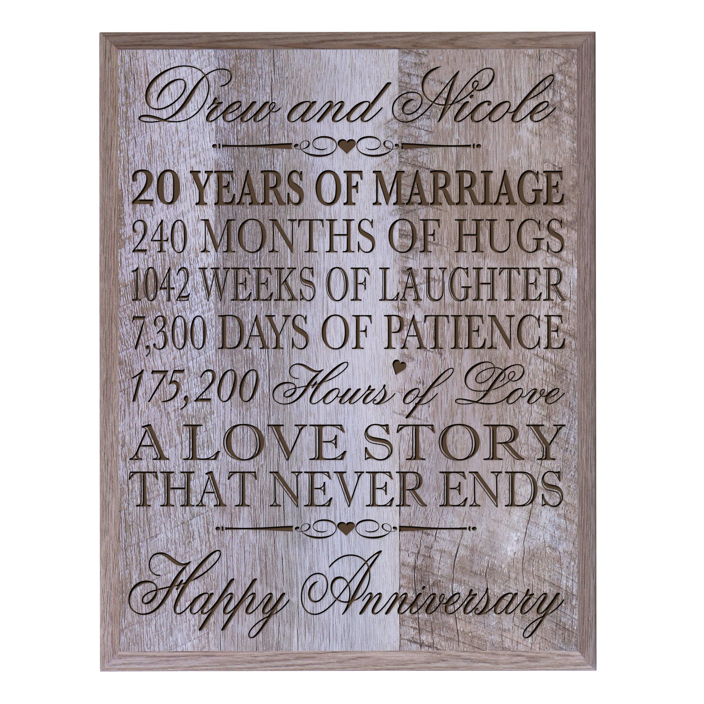 Personalized 20th Wedding Anniversary Wall Plaque Gifts For Couple