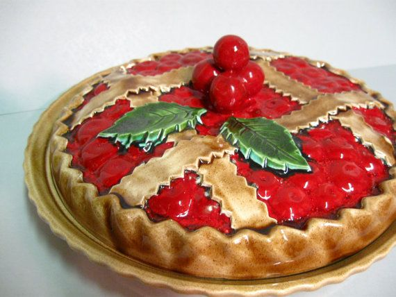 vintage ceramic pie plates \u0026 pans | Ceramic cherry pie plate and cover hand painted by stephieD & Ceramic cherry pie plate and cover hand painted | Pie plate ...