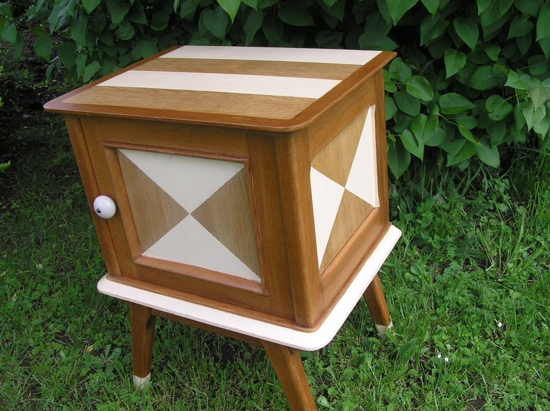 Meuble vintage relook table de chevet patin bout de canap ann es 60 d coration int rieur - Deco chambre annee 60 ...