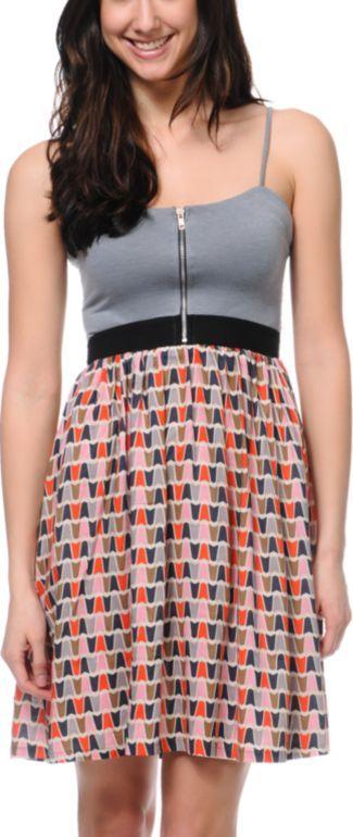 Love, Fire Grey Geo Print Zipper Dress