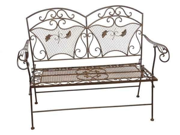 Braune Gartenbank aus Eisen hergestellt Das Möbelstück ist klappbar