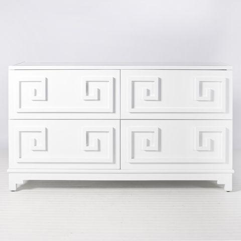 Greek Key White Lacquer Dresser