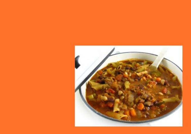You'll love, love, love this rich, hearty, fiber packed soup! It tastes very similar to the pasta e fagioli at Olive Garden. It's one of the lowest-fat items on the Olive Garden menu, with 2.5 of fat per serving. My recipe actually contains more calories than theirs does because I've add