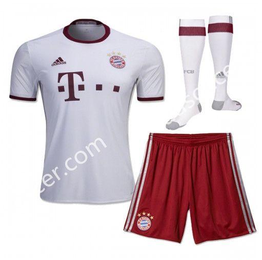 2016/17 Bayern München Away White Kids/Youth Soccer Uniform With Socks