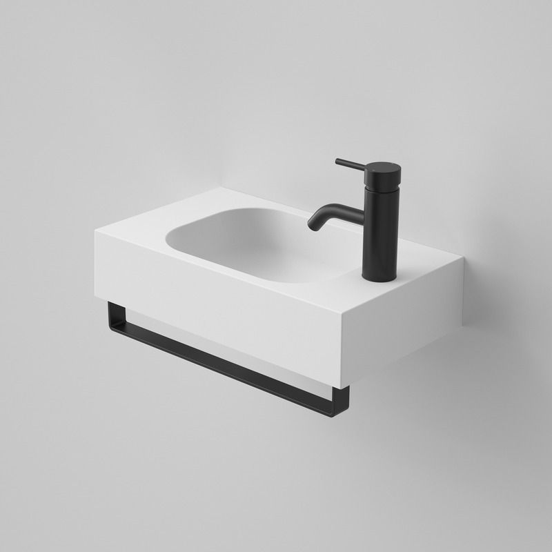 Sunstone 450 Solid Surface Hand Wall Bench Basin With Black Towel Rail Small Toilet Room White Wall Hanging Black Towels