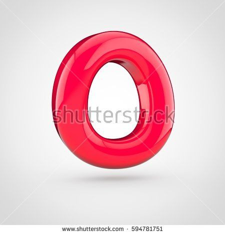 Glossy Red Paint Letter O Uppercase 3d Render Of Bubble Twisted