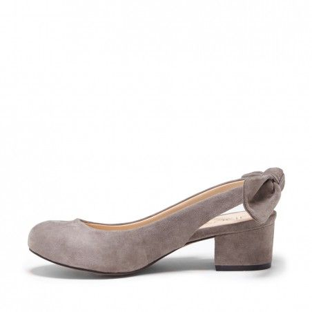 Suede 1 1/2 Inch Bow Slingback