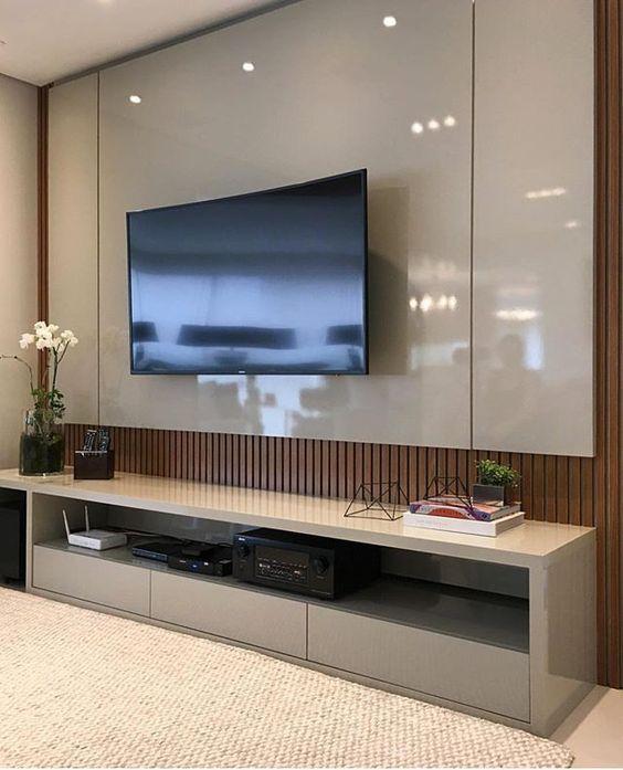 Carol Brechzin Home Tips For Home Theater Room Design Ideas: Hometheater Na Cor Fendi E Painel Ripado Em Madeira Freijó
