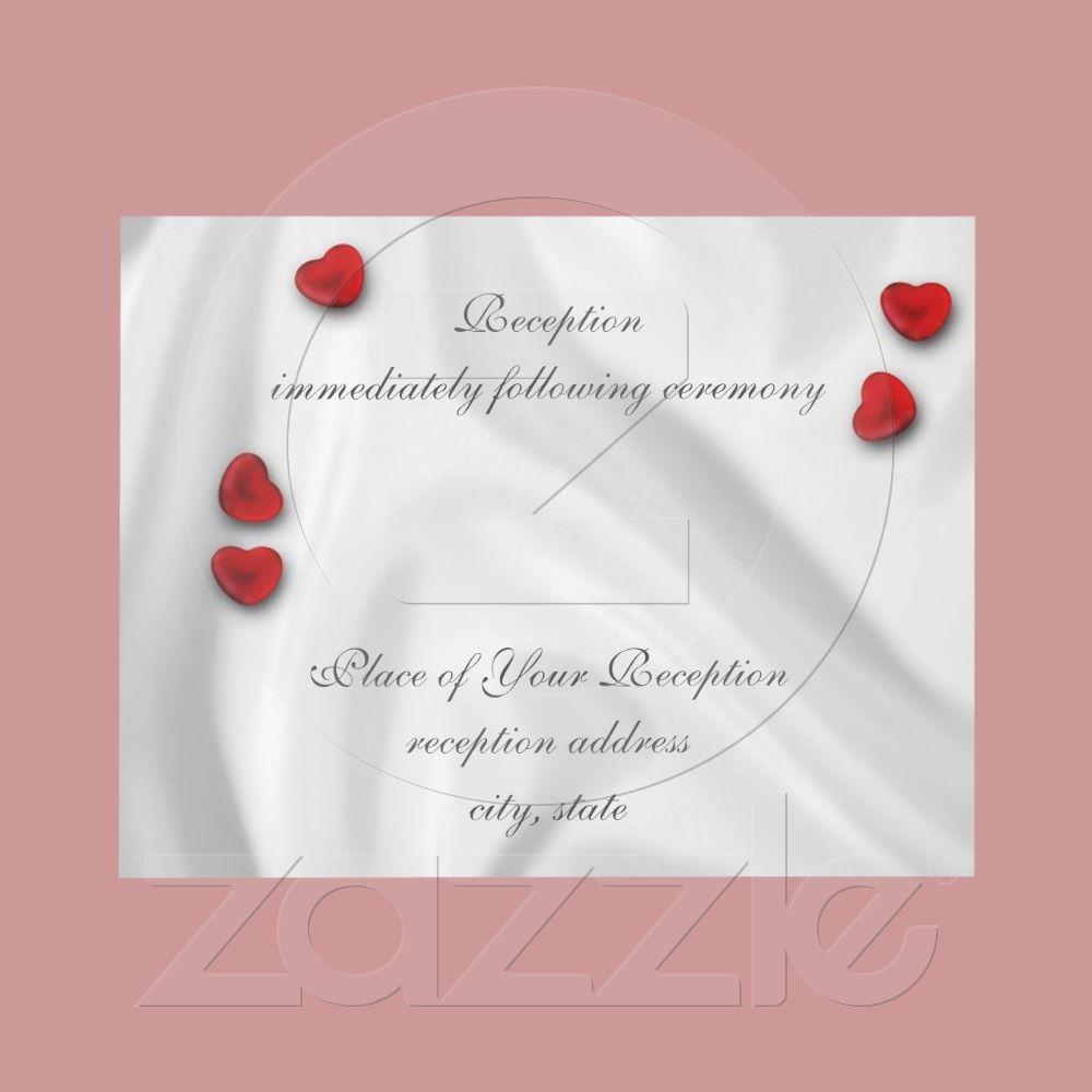 White Silk and Hearts Reception Announcement from Zazzle.com
