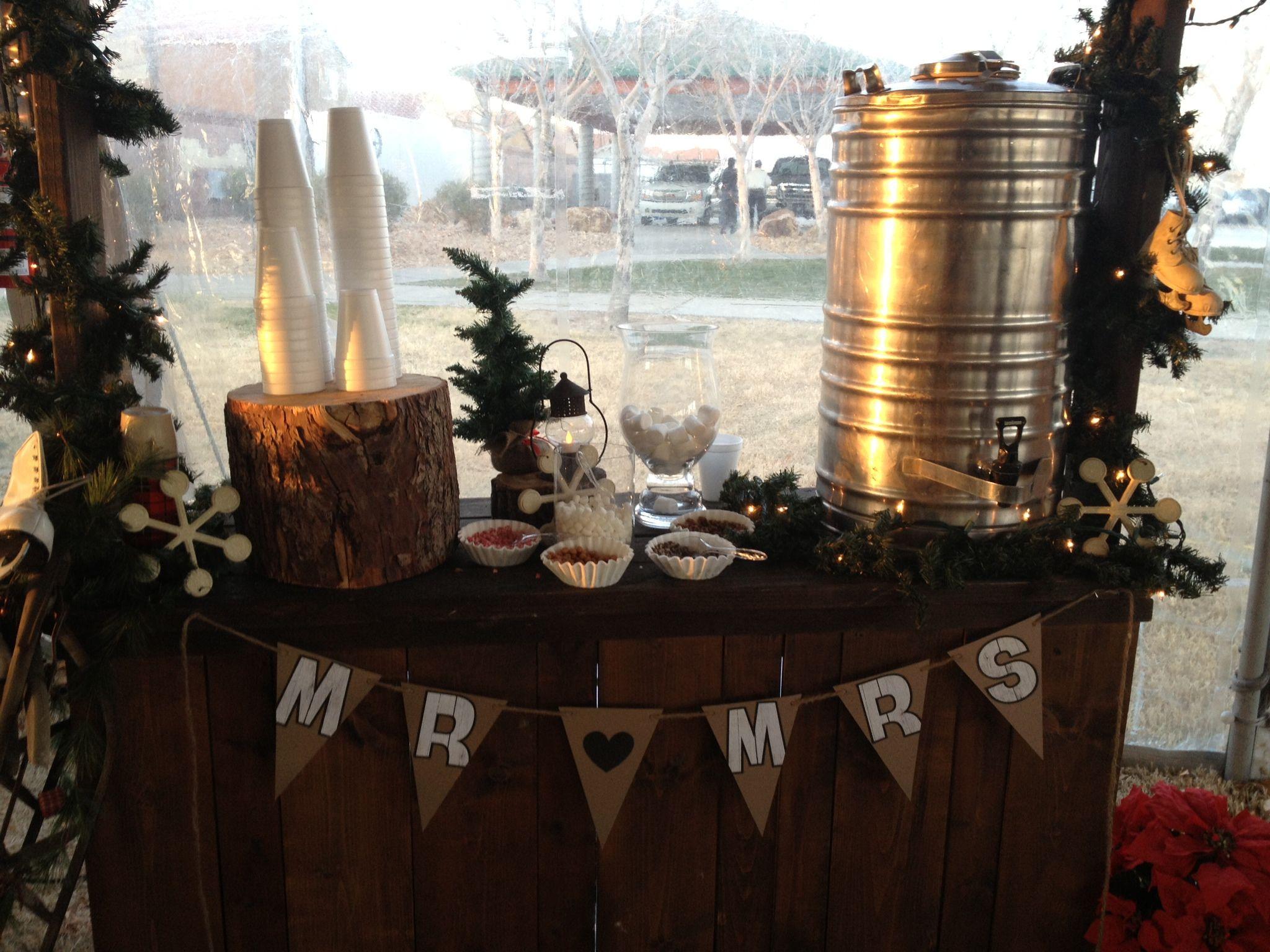 Rustic wedding decor. hot cocoa stand