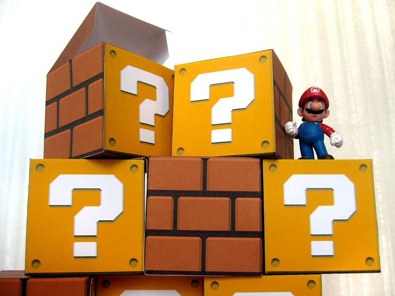 Super Mario Question Block Papercraft Party Favor Boxes 8 DIY (Mystery Block, Prize Block, Mario Bros, Mario party, candy box, treat box). $8.00, via Etsy.
