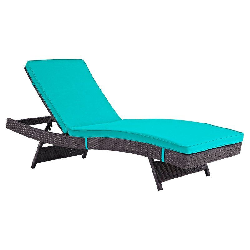 Modway Convene Wicker 6 Piece Outdoor Chaise Lounge Turquoise - EEI-2430-EXP-TRQ-SET